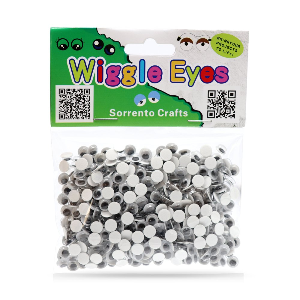 Round Wiggle Googly Eyes with Self-Adhesive DIY Toy Accessories Multi-Pack (10mm 200pcs) Sorrento Crafts