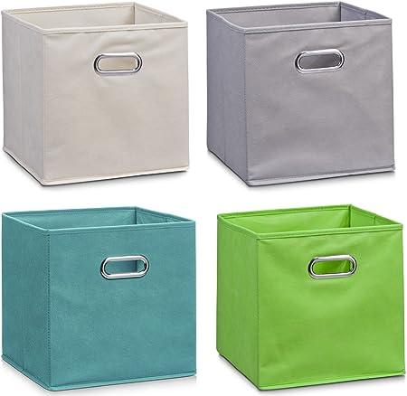 Zeller – Juego de 4 cajas de almacenaje, de fieltro, 28 x 28 x 28 cm, de colores, plegables, cuadradas, 4 unidades, cada una de un color: Amazon.es: Hogar