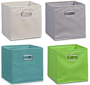 Zeller Vlies Aufbewahrungs Box 4er Set 28 X 28 X 28 Cm Farbig