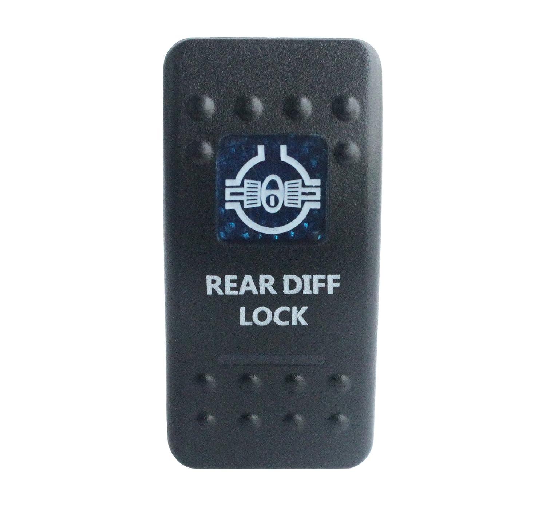 bandc Marine Grade Auto Boot Rear Diff Lock Wippschalter Blau LED 5Pin SPST ON-OFF-Wasserdicht IP68