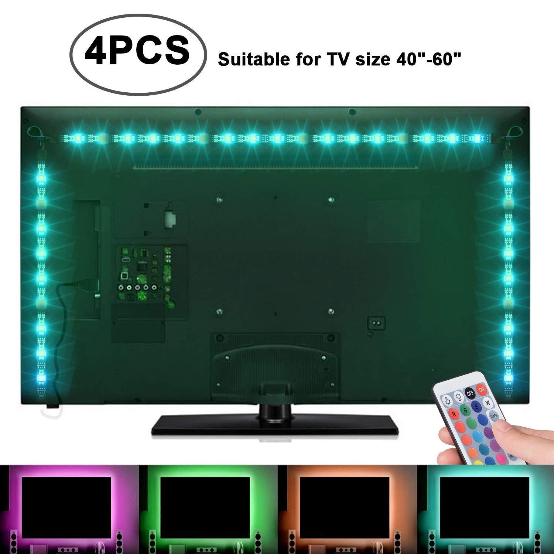 Sunnest TV Backlight Light Kit, 6.56FT/2M 5V USB LED Lights Strips 5050 RGB Bias Lighting with Remote for HDTV Desktop PC Monitor Home Theater Kitchen Cabinets, Multi Color (40-60in) by SUNNEST