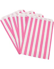 The Paper Bag Company Candy Stripe Paper Bags, 5 x 7 Inches - Pink, Pack of 200