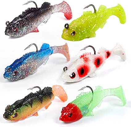 Soft Silicone Plastic Fish Saltwater Freshwater Fishing Lures Bass 2 Hook Baits