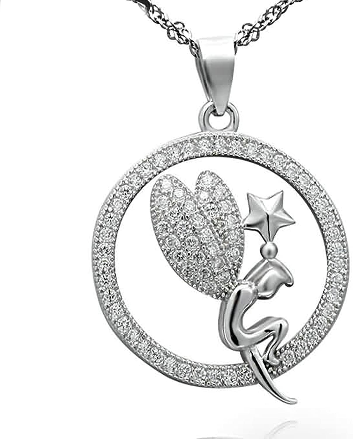 AMDXD Jewelry Women Silver Plated Pendant Necklaces Circle Angel Star Cubic Zirconia White 2.2X2.1CM