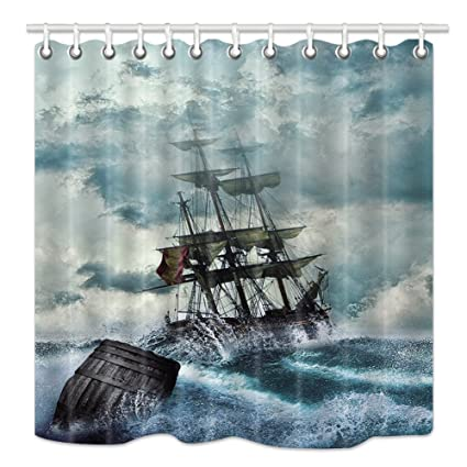 NYMB Pirate Boat Shower Curtain Kraken Decor Nautical Sailboat Ship And Wooden Bucket On Wavy