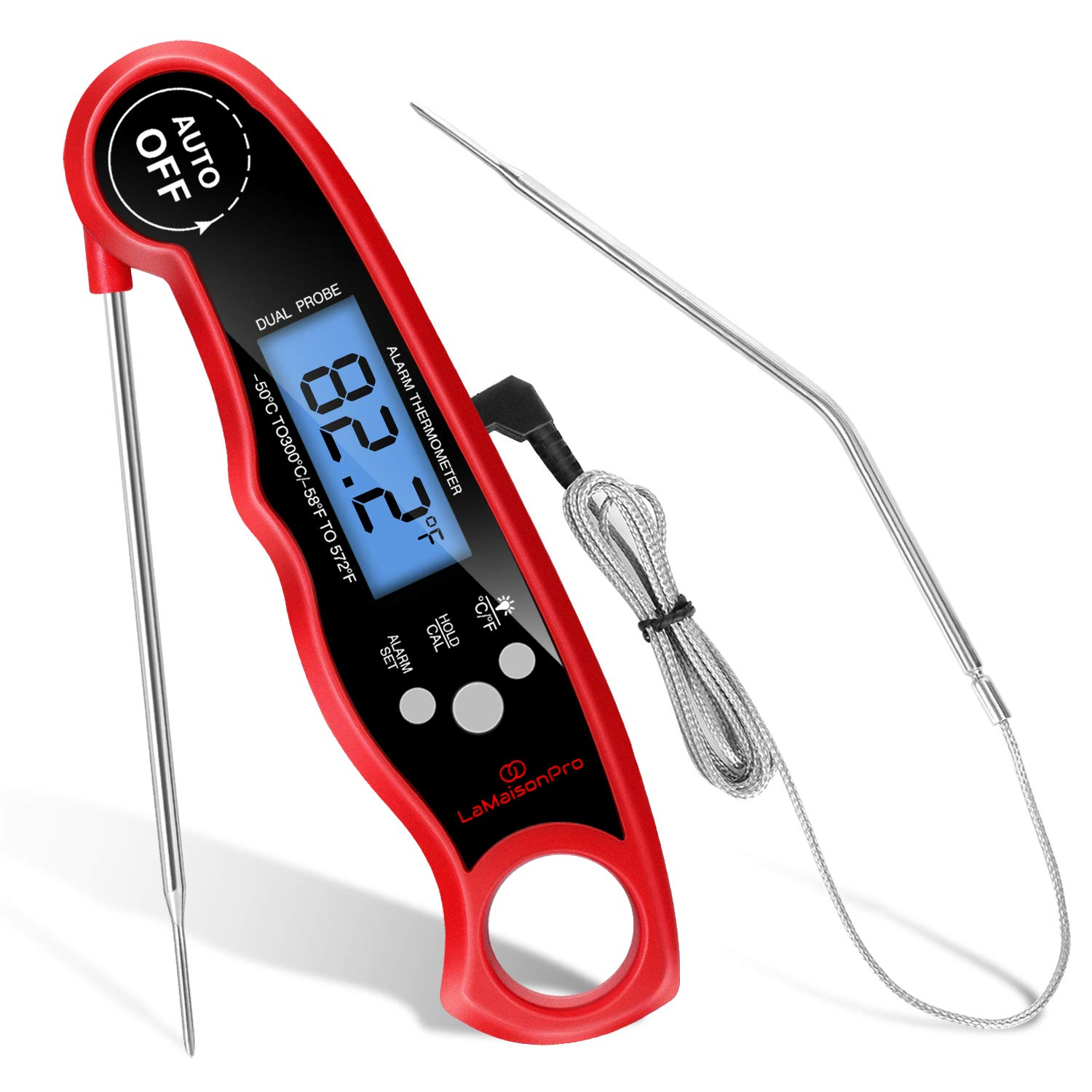 Digital Meat Thermometer for Grill Instant Read,Food Thermometer for Cooking,Candy Thermometer,Grill Thermometer Digital Probe,Dual Probe Oven Safe Kitchen Cooking BBQ Smoker Baking Grilling (Red)