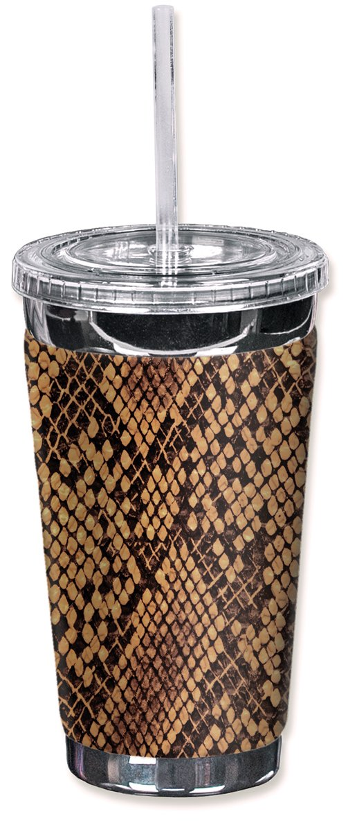 Mugzie brand 16-Ounce To Go Tumbler with Insulated Wetsuit Cover - Snake Skin