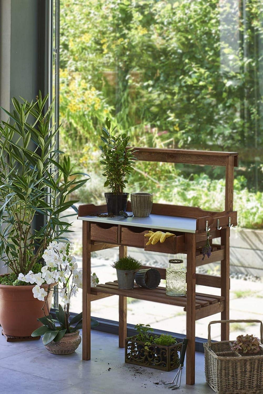 3 ganci 3 cassetti Pureday Tavolo da giardinaggio ca Marrone Legno Piano di lavoro in Metallo zincato L 78 x P 38 x A 112cm
