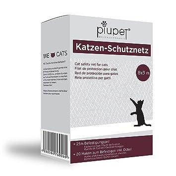 PiuPet® Premium Katzennetz | inkl. 25m Befestigungsseil | Extragroß in 8x3m | Hochwertiges Sicherheitsnetz für Balkon & Fenst