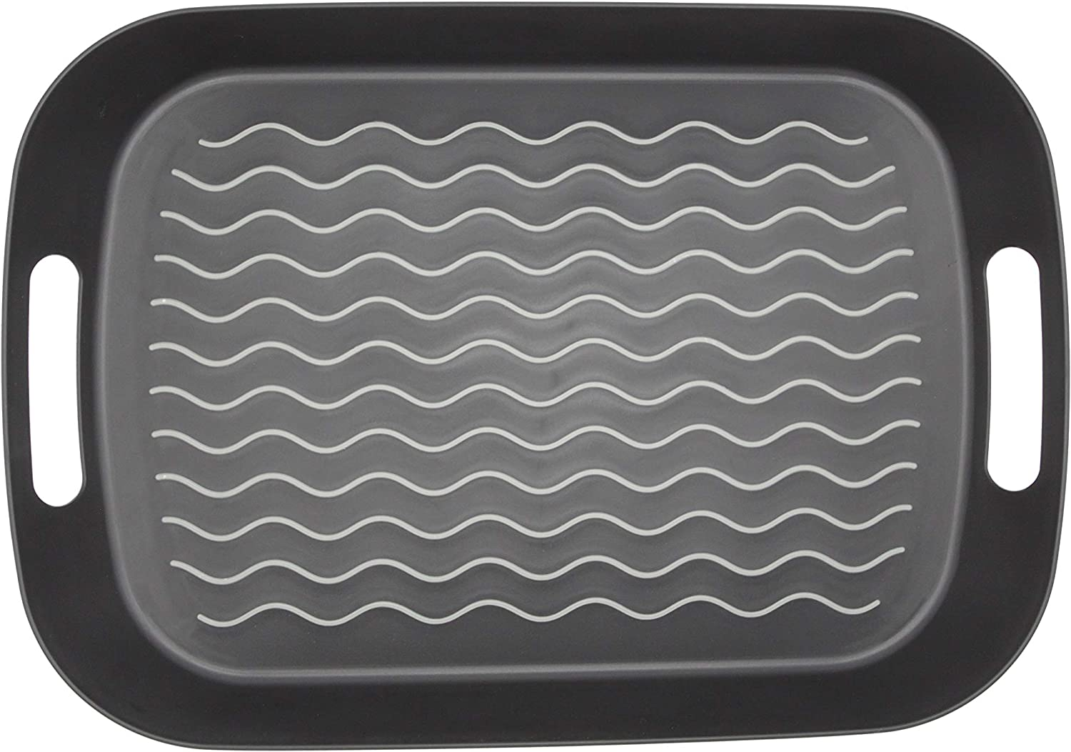ChopMaster Large Rectangular Anti Slip Serving Tray with Handle (Black)