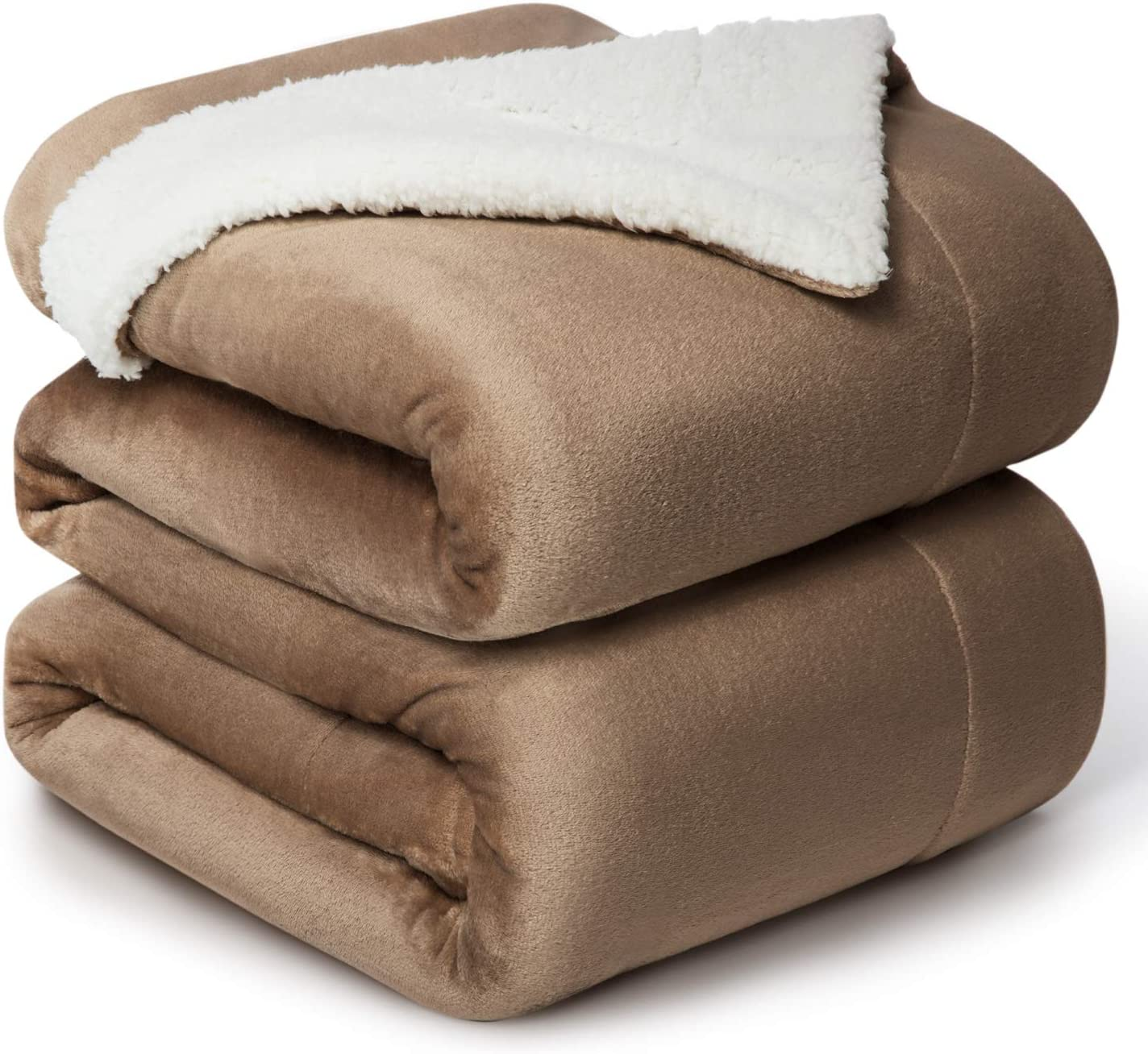 Bedsure Sherpa Fleece Blanket Queen Size Camel Plush Throw Blanket Fuzzy Soft Blanket Microfiber