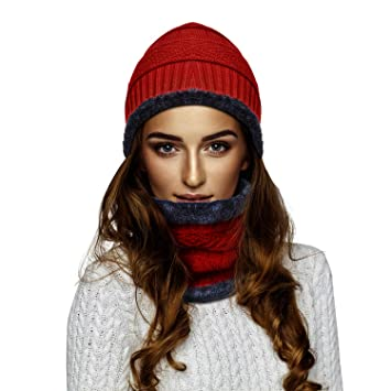 5f69c86d92f1 RooLee Bonnet Tricoté avec Écharpe en Doublure Polaire pour Femme, Rouge