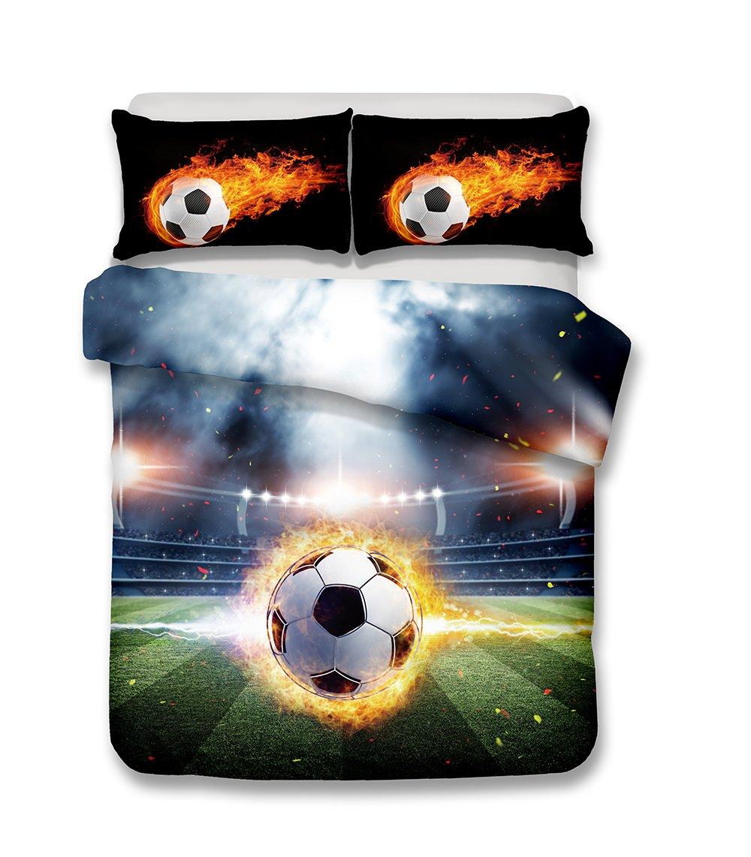 Helengili 3D Digital Printing Bedding Set Football Soccer Center Forward Bedding Bedclothes Duvet Cover Sets Bedlinen 100 Percent Microfiber Present , California King