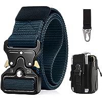 BESTKEE Cinturón táctico para hombres 1.5 pulgadas, estilo militar Cinturón con hebilla Cobra con cierre rápido de hebilla de metal, regalo con bolsa táctica Molle y gancho