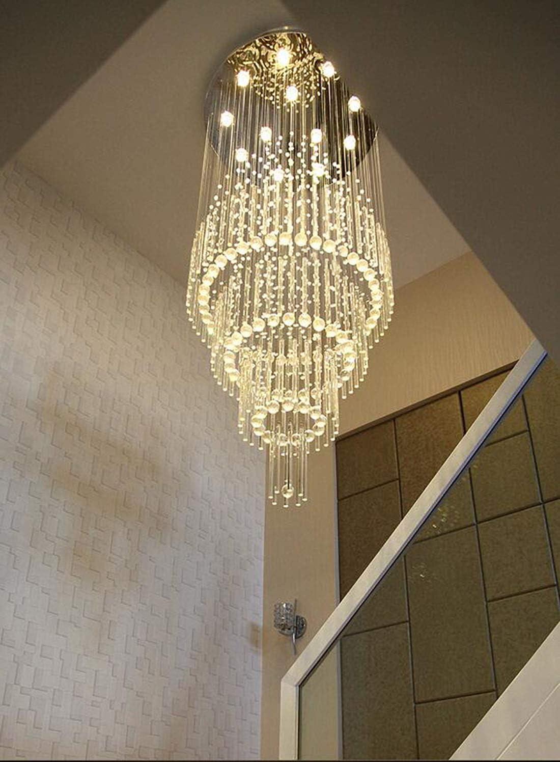 D31.4″H102″ Modern Large Crystal Chandelier Villa Spiral Entrance Lighting Grand Foyer Raindrop Chandelier Hallway Ceiling Light Fixture