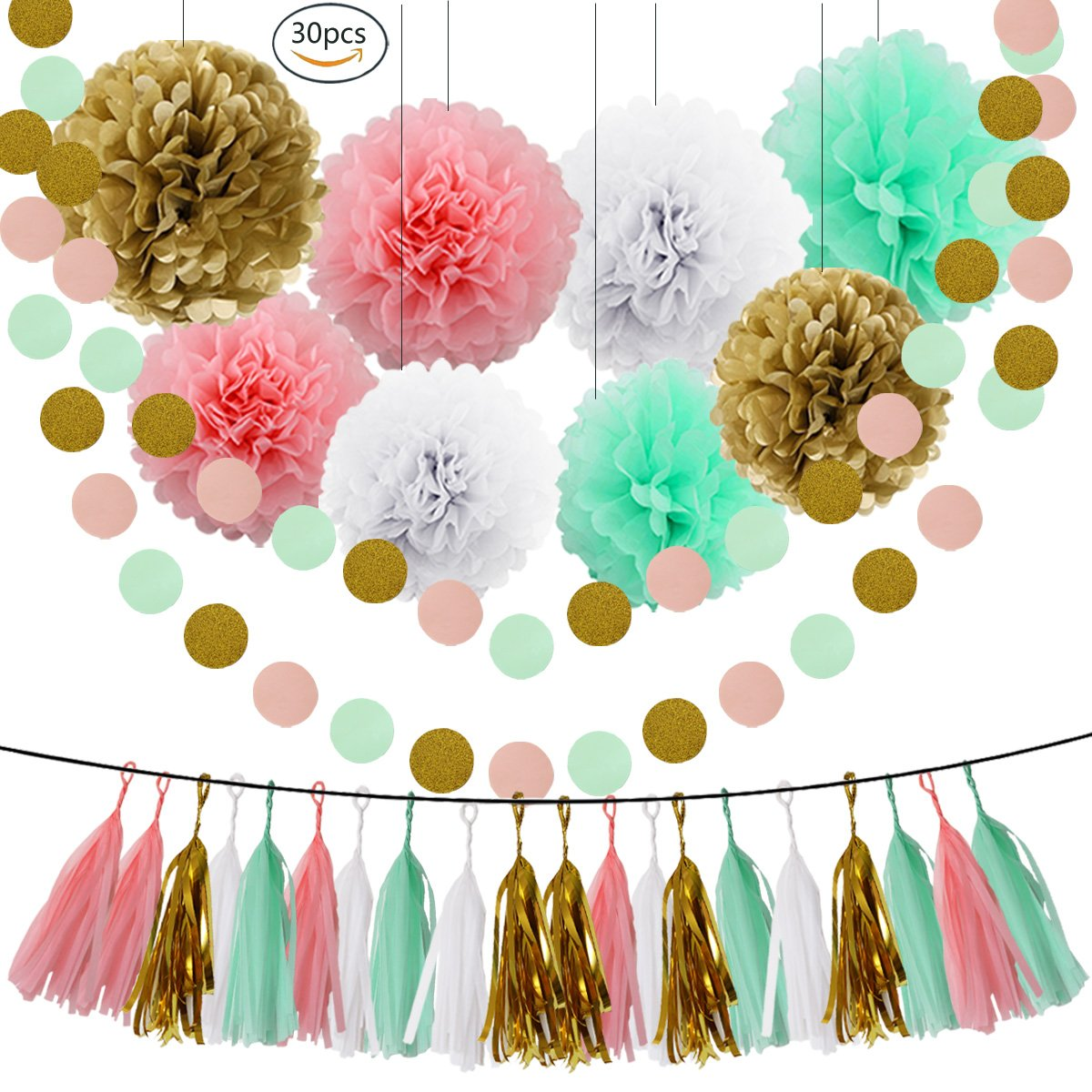 HEARTFEEL Bridal Shower Decorations Mint Baby Pink White Gold Tissue Pom Poms Paper Flowers Ball Tassel Garland Best for Mint Theme Party Decorations Birthday Baby Shower Wedding Nursery Decoration