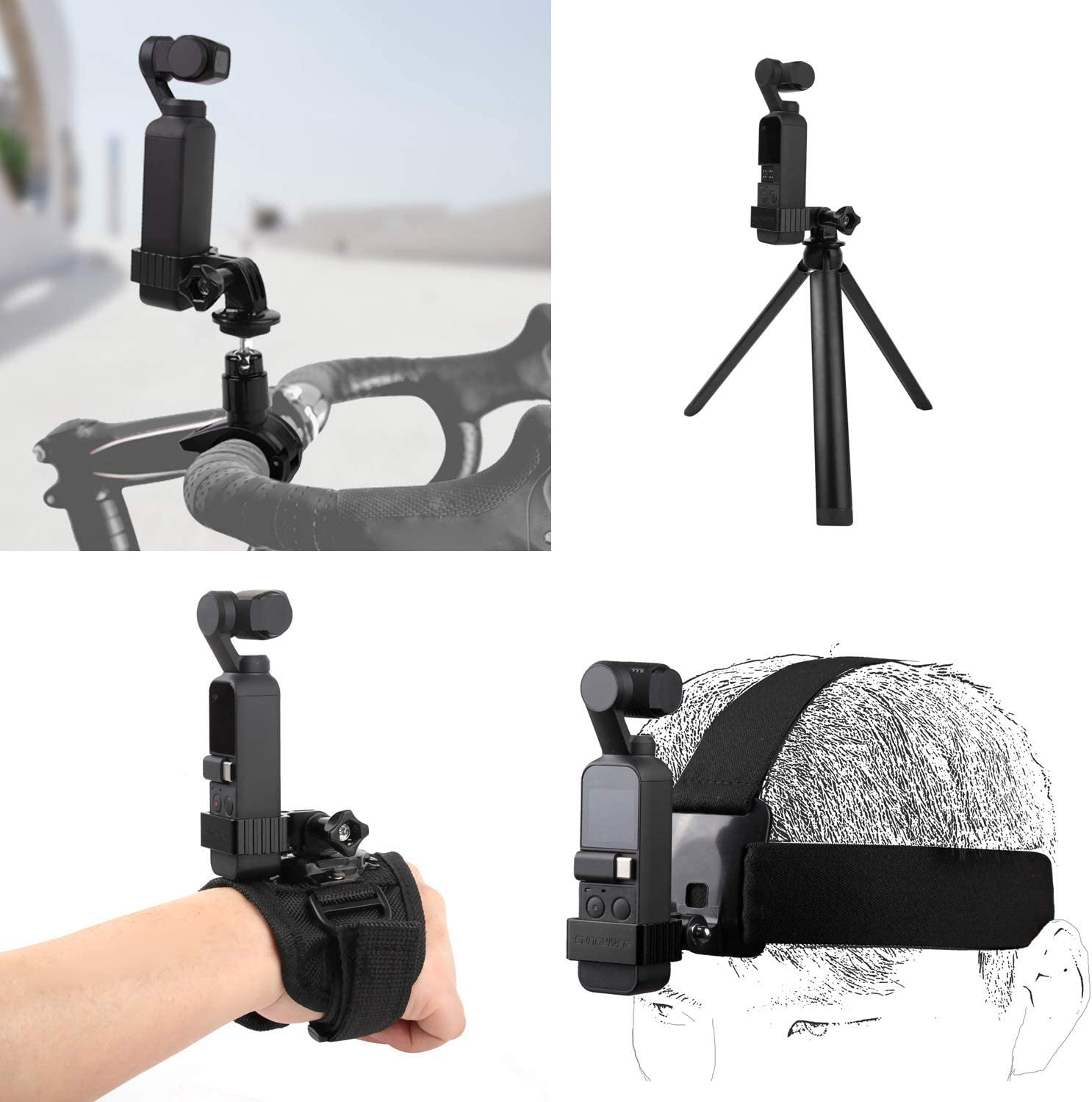 ZEEY Multifunction Universal Metal Adapter Fix Mount Compatible with DJI OSMO Pocket Red Handheld Gimbal Stabilizer Black//Red