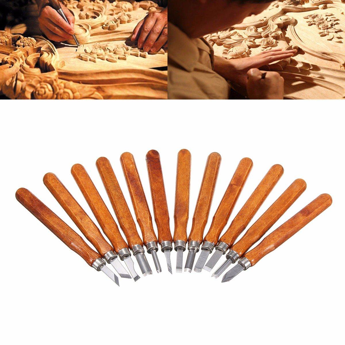 Ciseaux à Bois, GOCHANGE 12 Pièces Pyrograveur sur Bois/Main Gravure sur Bois, Couteaux à Découper pour Sculpteur, Charpentier, Amateur, Poterie, Cire product image