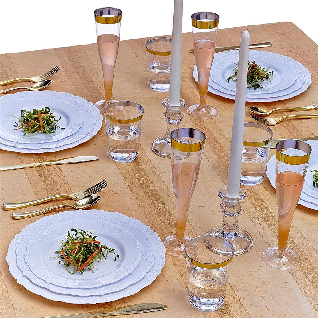 Juego de vajilla desechable (20 unidades), 20 platos de plástico desechables para fiestas, bodas, vacaciones, fiestas, duchas, cumpleaños, aniversarios y ...