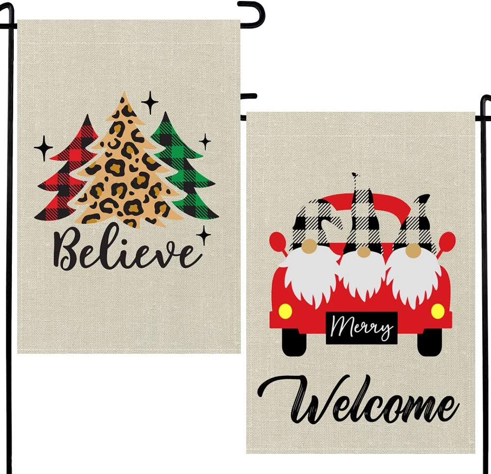DUDOU Winter Welcome Gnomes Garden Flag Christmas Tree Believe Sign Red Truck Green Leopard Pine Tree Black White Buffalo Check Plaid Burlap Decoration 12 x 18 Inches