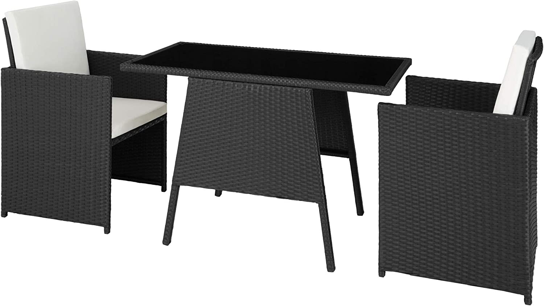 TecTake 800682 - Conjunto de Muebles de Jardín 2+1, Trenzado de Polirratán, Incluye Tornillos de Acero Inoxidable (Negro | No. 403096)