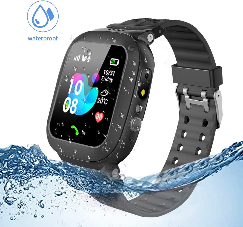 Jslai Niños Smartwatch Imprägniern,Inteligente Relojes Telefono, LBS Tracker de Alarma SOS Infantil Relojes de Pulsera Cámara Reloj móvil Mejor Regalo para Niño niña de 3-12 años (Black)