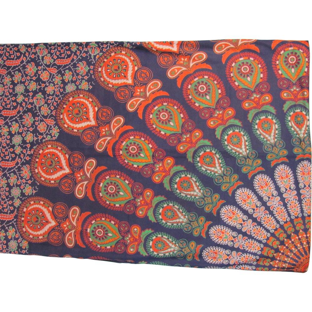 Bohemian Peacock Paisley Print Cotton Bedspread Bedding 3 Pcs Set King Size by Padma Craft (Image #6)