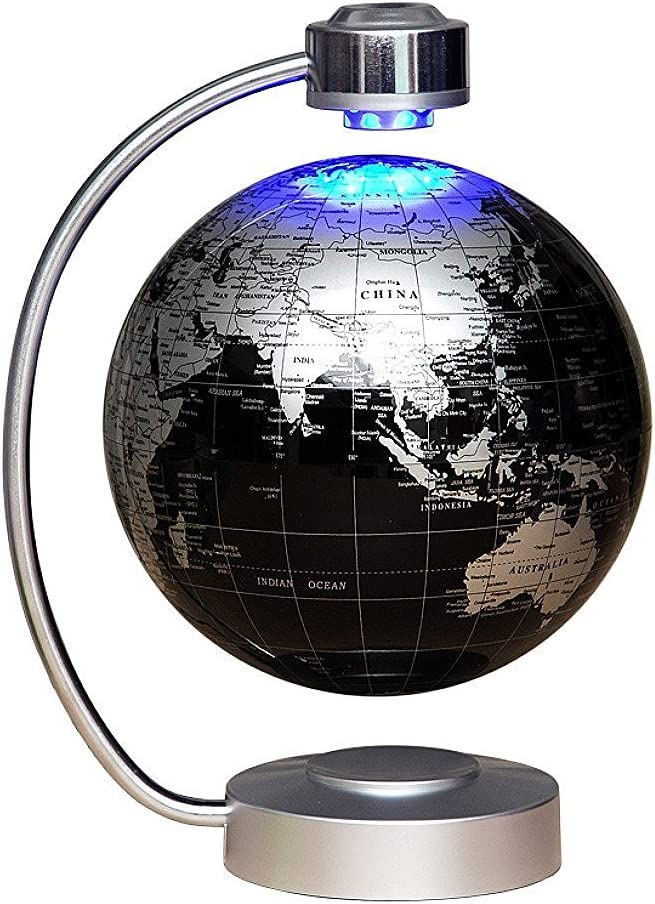 "Globes World, 8"" Magnetic Floating Globe with LED Light - Anti-Gravity Levitation Rotating Planet Earth Globe Floating Globe World Map for Stylish Home Office Desktop Display Decoration (Black)"