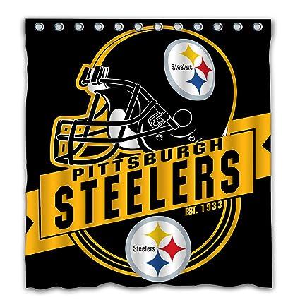 Felikey Custom Pittsburgh Steelers Waterproof Shower Curtain Colorful Bathroom Decor Size 66x72 Inches