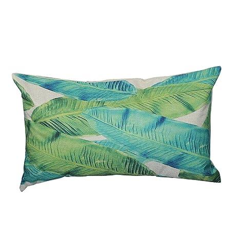 Fossrn Fundas de Cojines Almohada Tropical Hojas Funda de Cojines para Sofa Jardin Cama Decorativo - 30x50 cm (B)