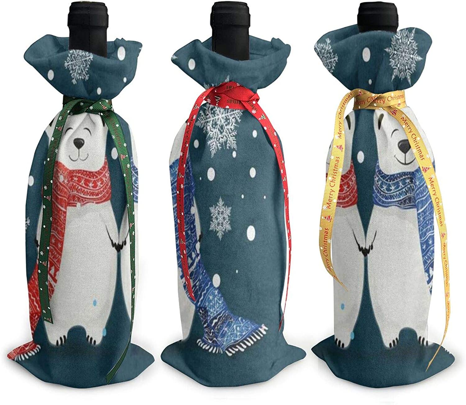 Christmas Wine Bottle Cover Bag Christmas Polar Bears Snowflakes Blue Single Reusable Wine Bottle Dress Wrap Sets 3 Decoration Bag With Ropes Dinner Party Table Decor Christmas Handmade Gift