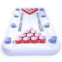 GoPong Pool Lounge Beer Pong Mesa flotante para cerveza con flotador para socializar, blanco
