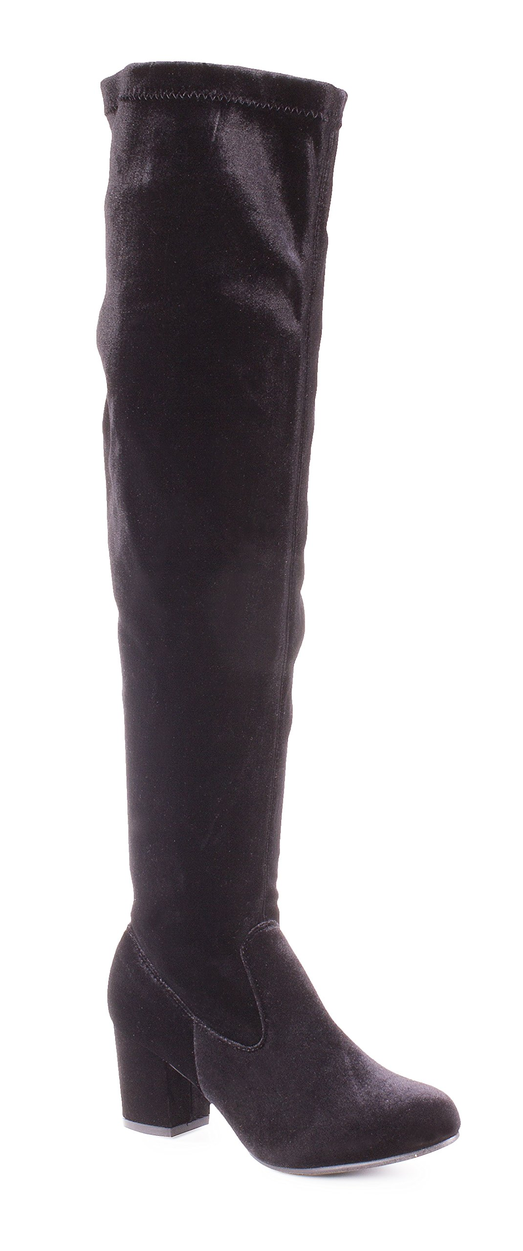 Charles Albert Women's Thigh High Over-The-Knee Chunky Heel Velvet Boots in Black Size: 8 by Charles Albert