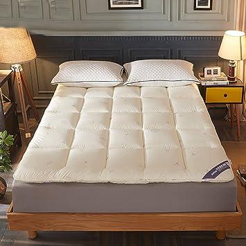 DULPLAY - Almohadillas de colchón de Terciopelo con Plumas, Transpirable, Funda de Cama Tatami, colchón Antideslizante Grueso y Plegable, Protectores de ...
