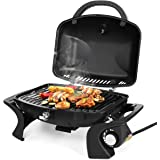 Giantex Portable Propane Gas Grill 12000 BTU Tabletop Camping Outdoor Cooking Yard Patio Lawn Garden Barbecue Temperature Control Stove Burner BBQ Propane Grills W/Net Hose Valve 27.5