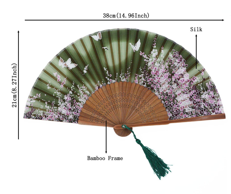 Green meifan Womens Chinese//Japanese Silk Handheld Folding Fan