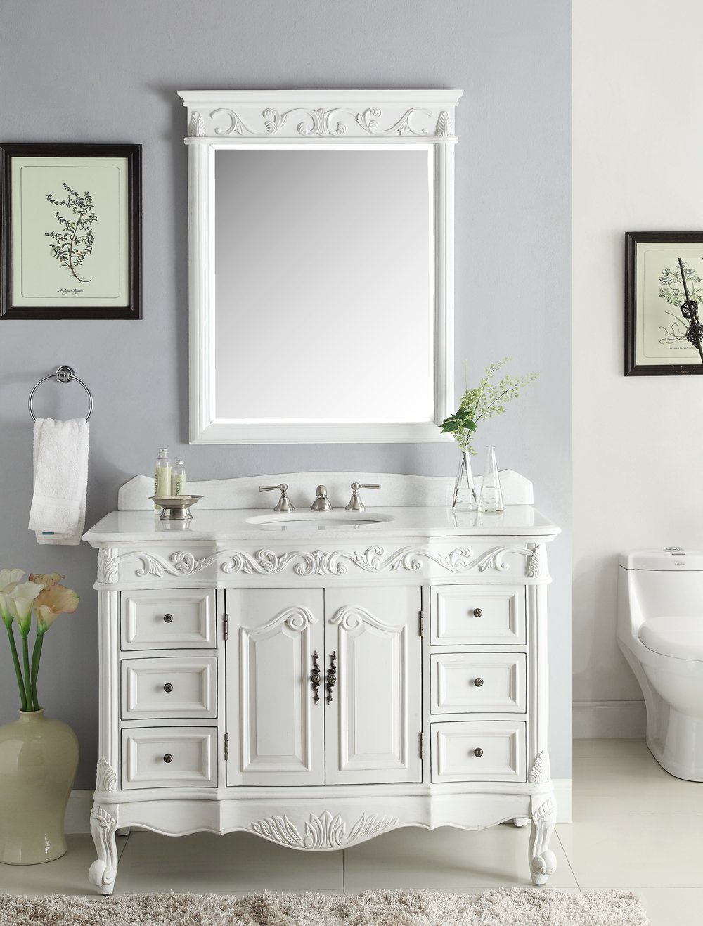 42  Antique White Beckham Bathroom Sink Vanity Cabinet Mirror SW 3882W AW Amazon Com