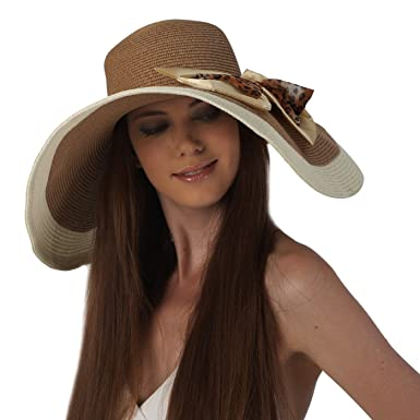 58ad984c160 Image Unavailable. Image not available for. Color  Luxury Lane Women s  Coffee Floppy Sun Hat with Leopard Print Bow