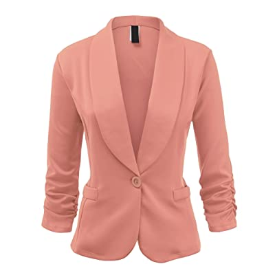 UUWJC1006 Womens Plus Size Solid One Button Waist Length Blazer Jacket 1X PINK at Women's Clothing store