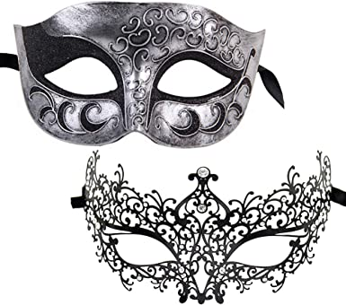 Prom Party Couple Venetian Metal Men Women Masquerade Mask