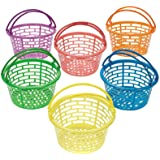 12 Small Bright Coloured Plastic Easter Egg Hunt Baskets