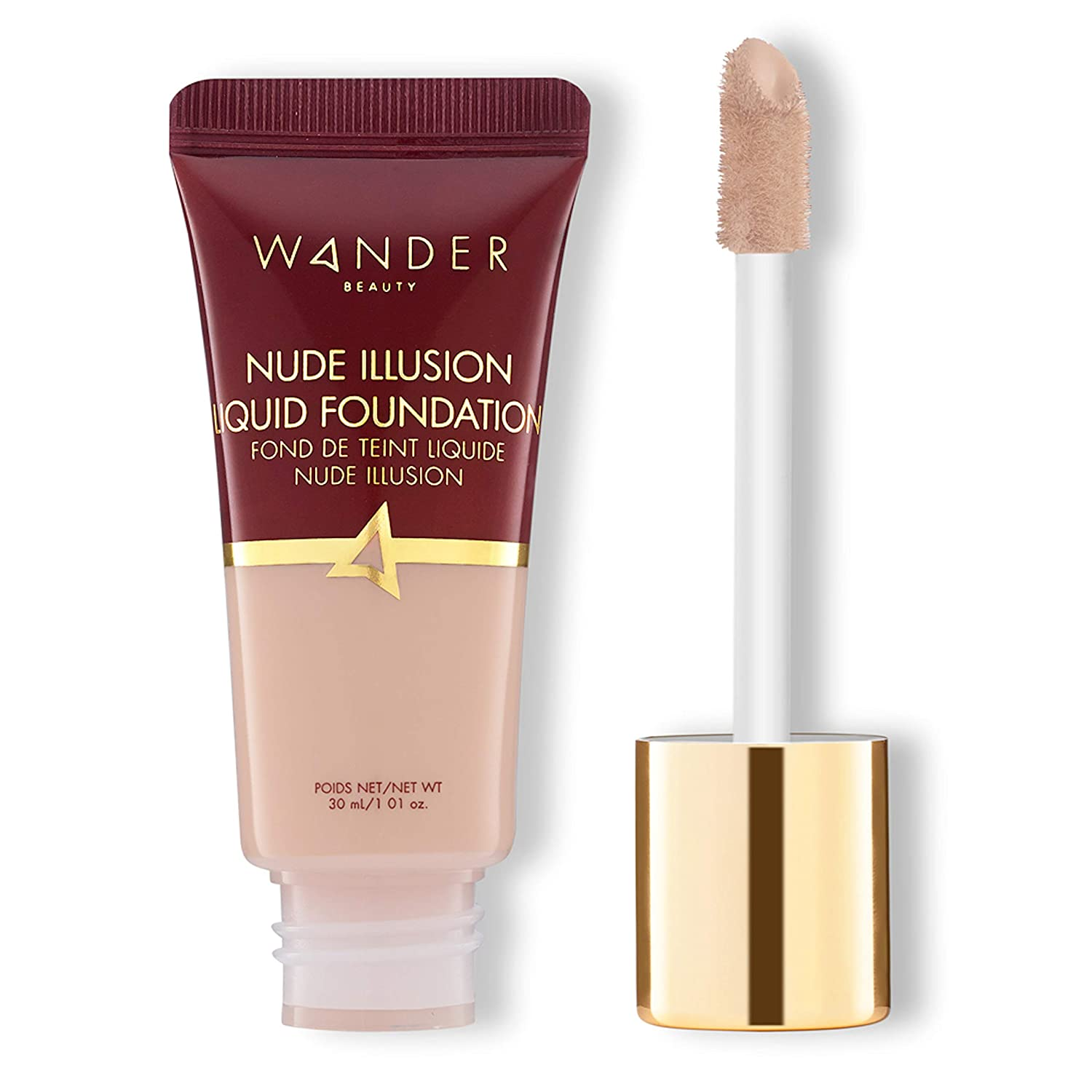 Wander Beauty Nude Illusion Liquid Foundation - Fair - Buildable natural, radiant finish. Targeted spot correcting and concealing, covers blemishes, redness and discoloration.