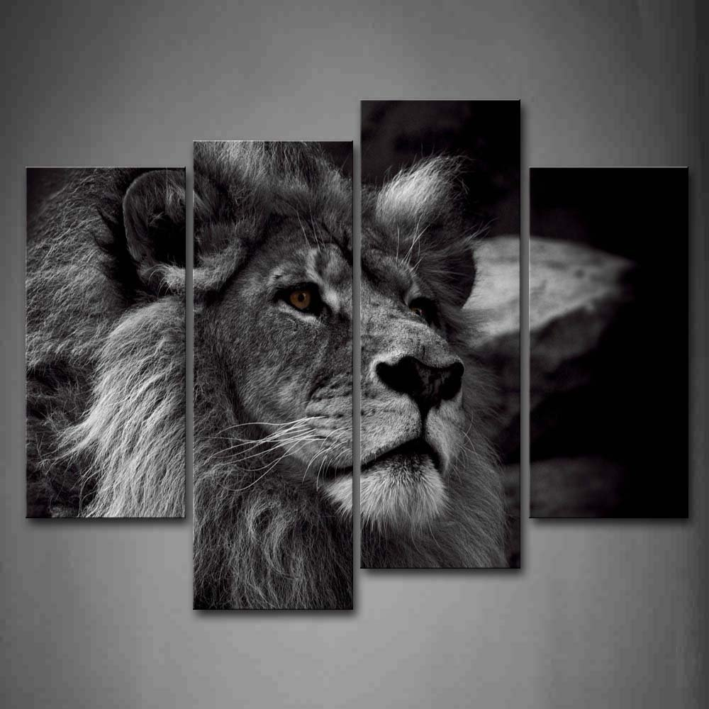 Amazon com black and white lion head portrait wall art painting pictures print on canvas animal the picture for home modern decoration posters prints