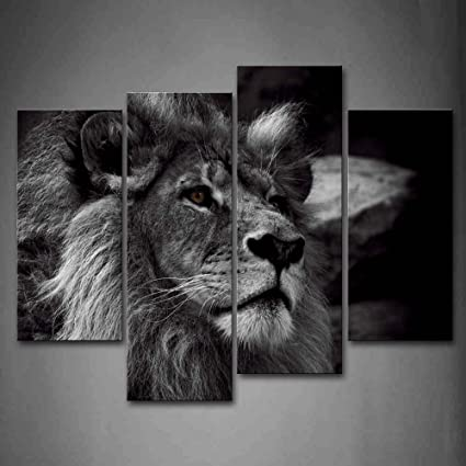 Black and white lion head portrait wall art painting pictures print on canvas animal the picture