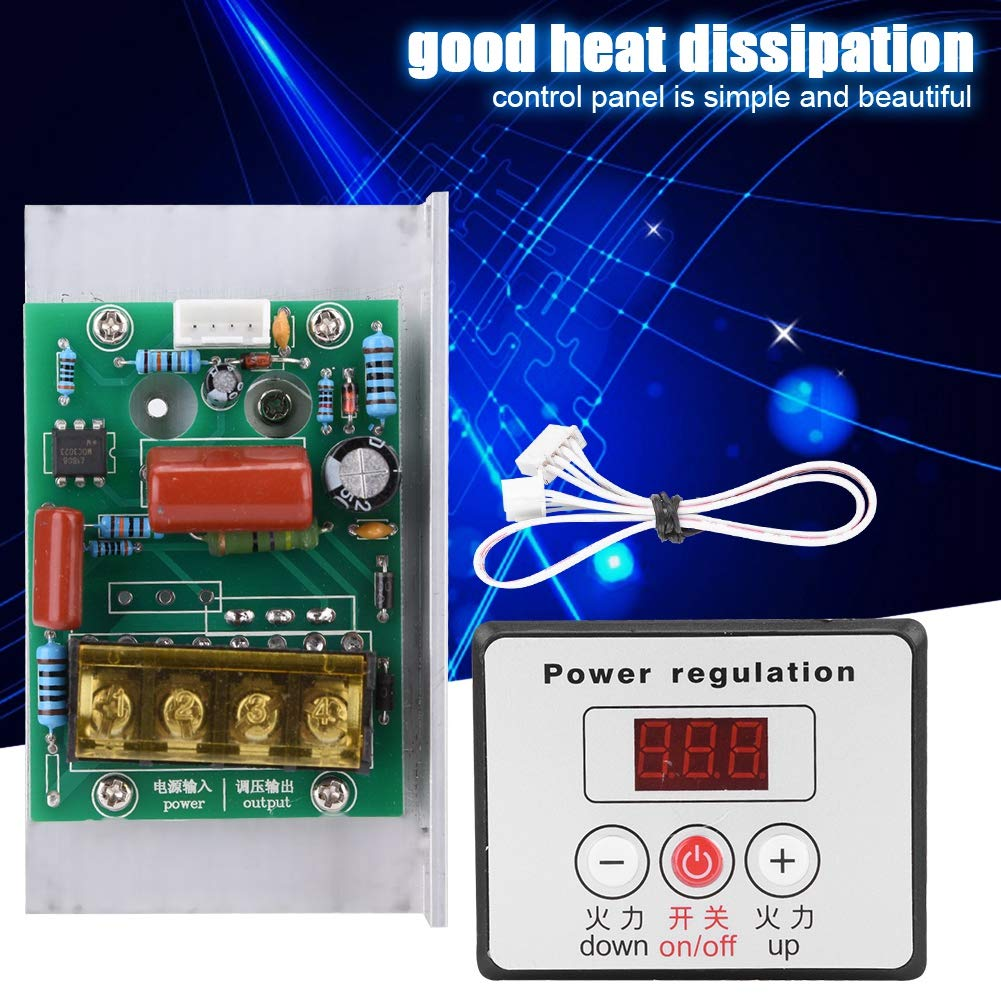AC 220V 6000W Adjustable SCR Digital Voltage Regulator Electric Motor Speed Control Dimming Dimmer Thermostat Module by Wal front (Image #8)