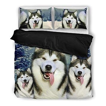 Ríe Alaskan Malamute impresión juego de ropa de cama, diseño de perro los amantes regalos