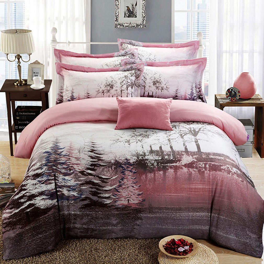 SAYM Home Bedding Sets Modern Fashion Digital Print Tencel Tree in the Snow 3D Print Set For Lovely Princess Teen Girls, Lady, Duvet Cover & Flat sheet & Pillow Case,4 Pieces,King Size