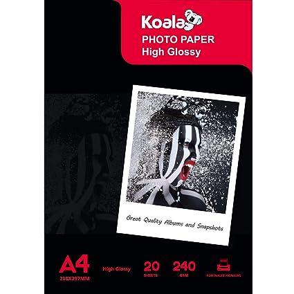KOALA Papel fotográfico para impresoras de inyección de tinta Canon Hp EPSON A4, 210 x 297 mm, 20 hojas, 240 g/m²
