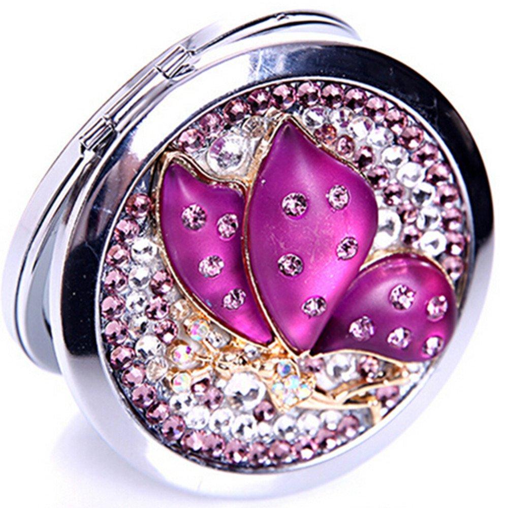 EVTECH(TM) 3D Bling Kristall Taschenspiegel Kosmetik Rund Vergrösserung Luxus Neu Schminkspiegel(100% handgefertigt)