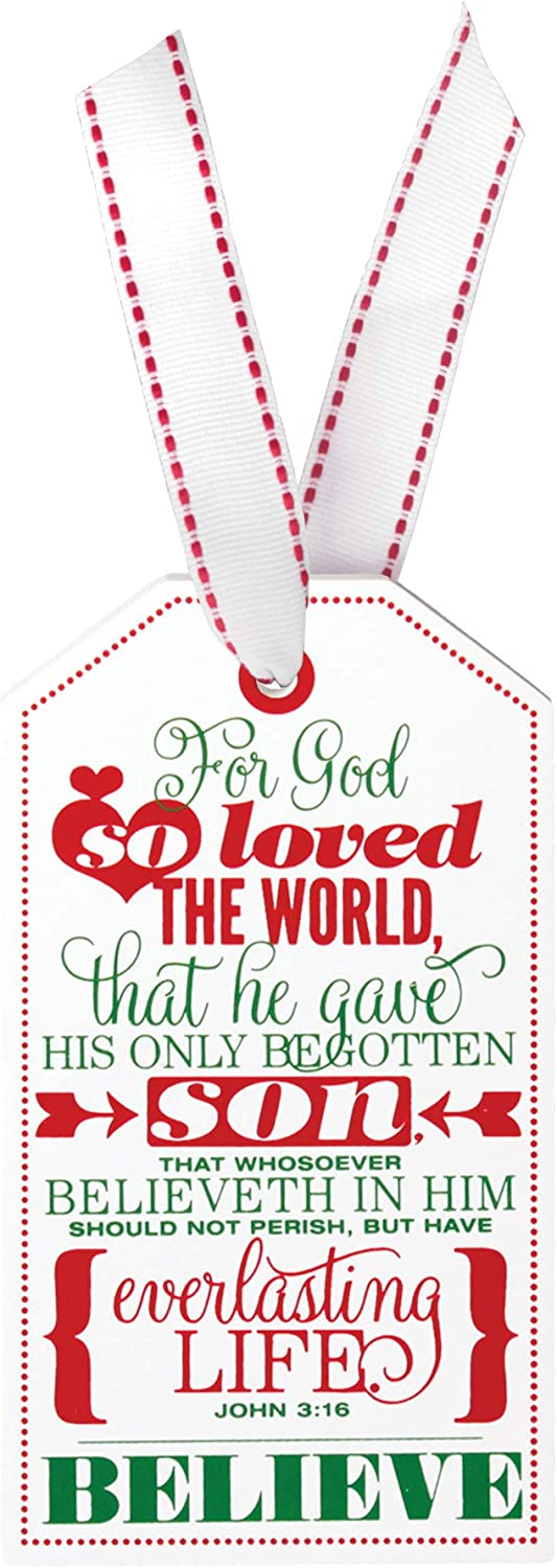 Lighthouse Christian Products for God So Loved The World Believe Festive Gift Tag 3 x 5 Wood Holiday Ornament